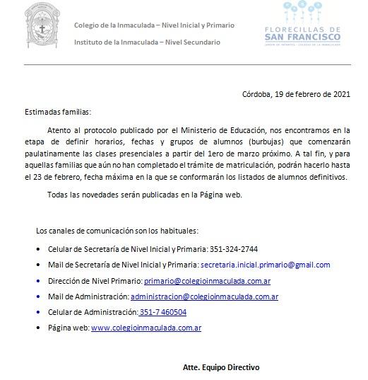 Nota Matriculación 2021 Inicial y Primario
